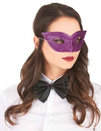 Antifaz veneciano purpurina violeta adulto