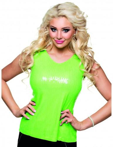 Top de lentejuelas verde fluo mujer