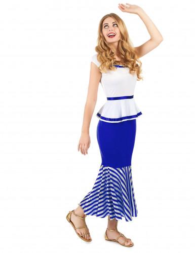 Disfraz de gala blanco y azul mujer