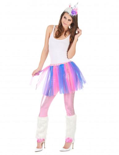 Disfraz de unicornio multicolor mujer