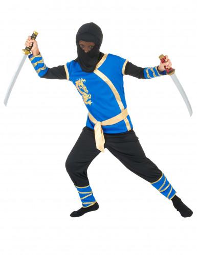 Disfraz de ninja azul y dorado niño