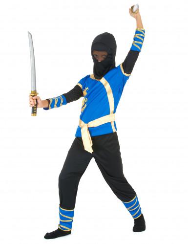 Disfraz de ninja azul y dorado niño-1