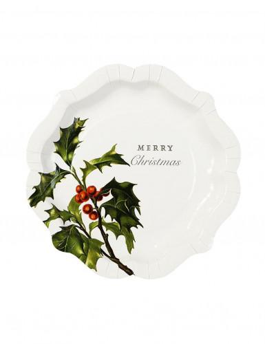 12 Platos de cartón Merry Christmas 20 cm-1