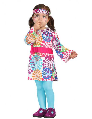 Disfraz de hippie lunares multicolores bebé