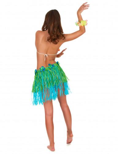 Falda hawaiana corta verde y azul con flores adulto-2