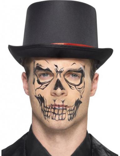Tatuaje esqueleto negro adulto Halloween