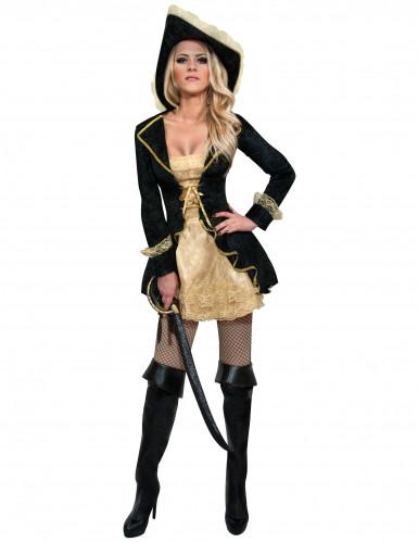 Disfraz de pirata barroco negro y dorado mujer