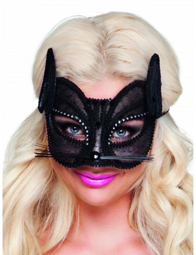 Antifaz de gato de encaje negro mujer