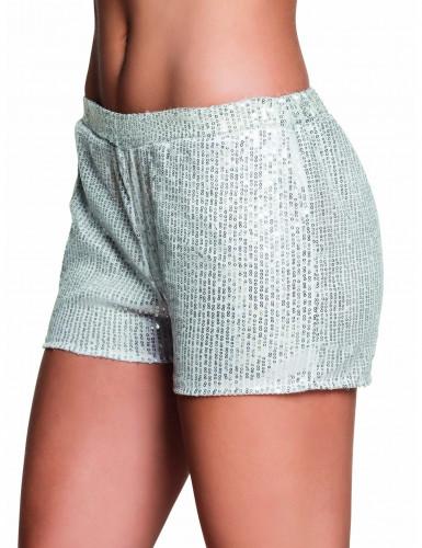 Pantalón corto lentejuelas plateadas mujer