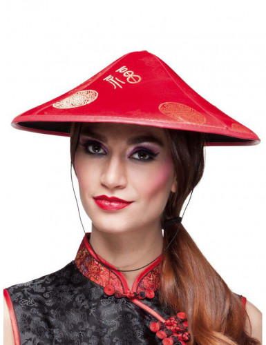 Sombrero chino rojo adulto