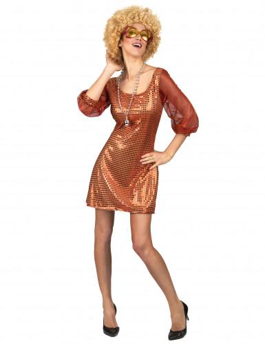 Disfraz vestido disco naranja lentejuelas mujer