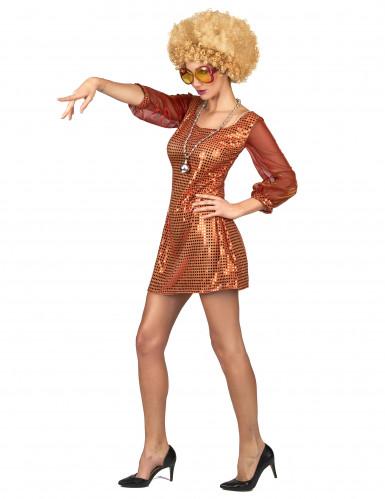 Disfraz vestido disco naranja lentejuelas mujer-1
