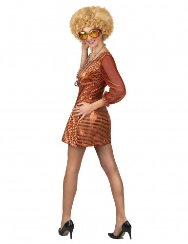 Disfraz vestido disco naranja lentejuelas mujer-2