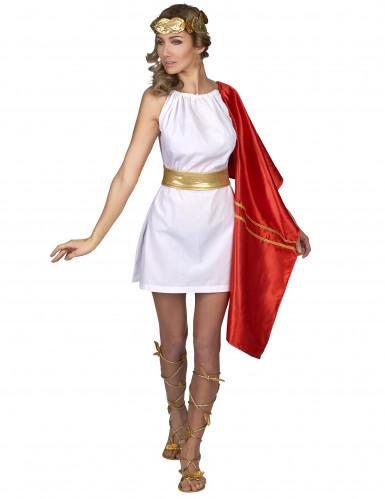 Disfraz romana rojo y dorado mujer