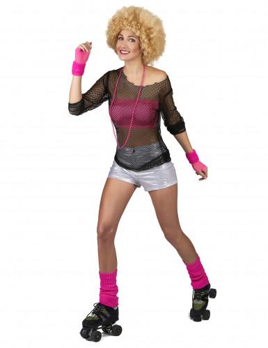 Pantalón disco plateado mujer-1