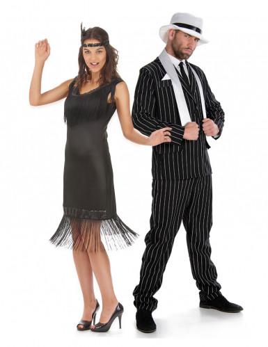 Disfraz de pareja años 20 negro adulto