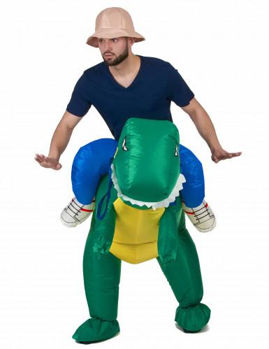Disfraz de explorador con dinosaurio adulto-1