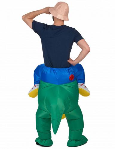 Disfraz de explorador con dinosaurio adulto-2