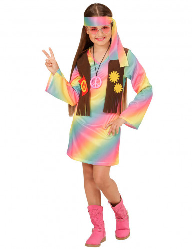 Disfraz hippie multicolor pastel niña