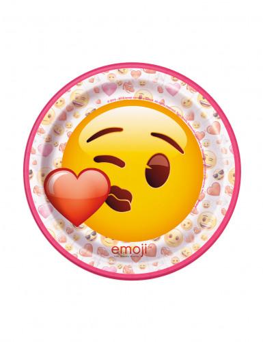 8 Platos pequeños de cartón Emoji™ 17,5 cm