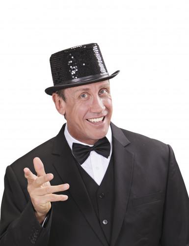 Sombrero de copa con lentejuelas negras adulto-1
