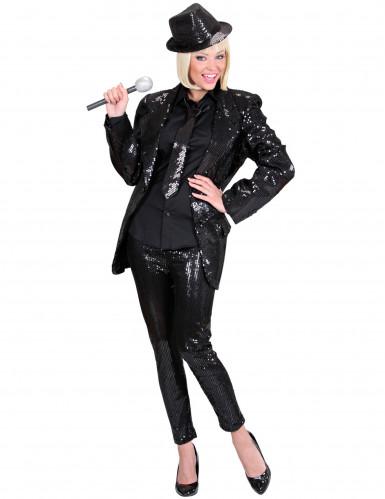 Pantalón legging negro lentejuelas adulto