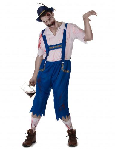Disfraz de bávaro zombie azul hombre
