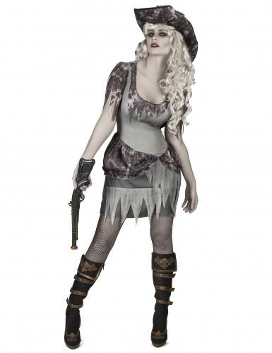 Disfraz pirata fantasma gris mujer
