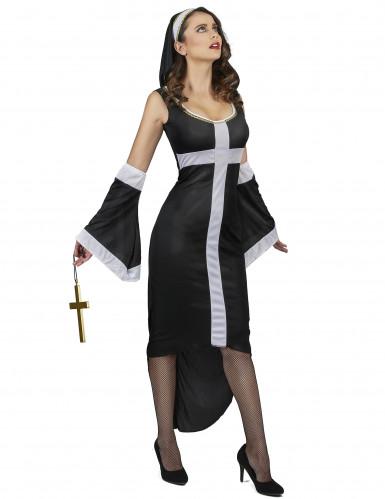 Disfraz de monja sexy cruz blanca mujer-1