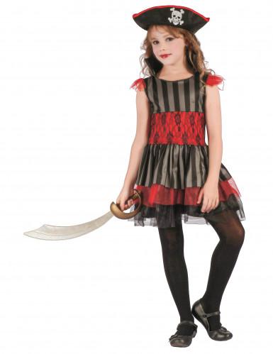 Disfraz de pirata roja y negra niña