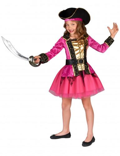 Disfraz de pirata rosa y dorado niña-1