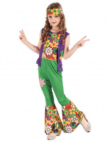 Disfraz de hippie flower power niña