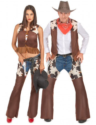 Disfraz de pareja cowboy adulto
