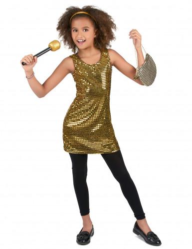 Disfraz disco dorado brillante niña