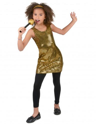 Disfraz disco dorado brillante niña-1