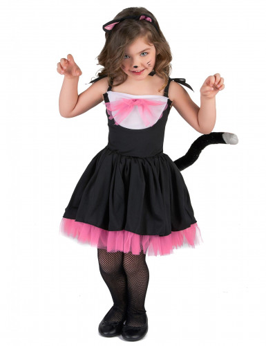Disfraz de gato tutú negro y rosa niña
