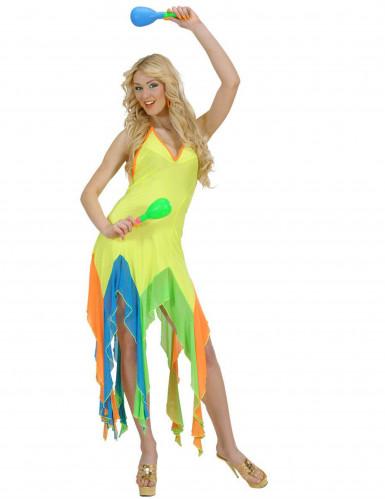 Disfraz bailarina brasileña fluo amarillo mujer