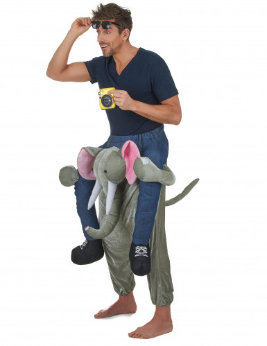 Disfraz de hombre montado en un elefante adulto-1