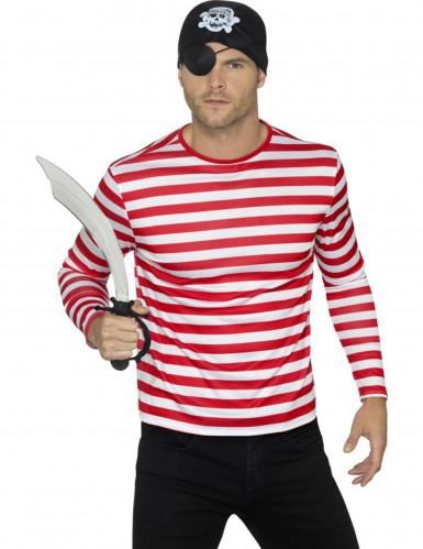 Camiseta a rayas blancas y rojas adulto
