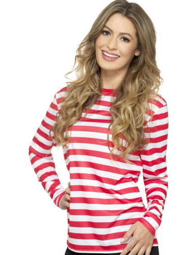 Camiseta a rayas blancas y rojas adulto-1