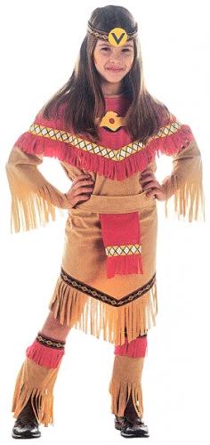 Disfraz india marrón y rojo niña