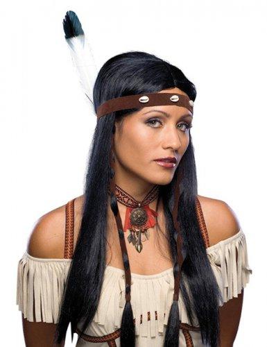 Peluca larga negra india