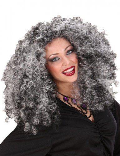 Peluca de bruja negra y gris