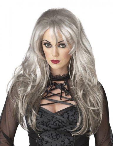Peluca mujer pelo largo gris