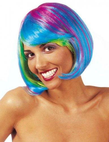 Peluca cuadrada fosforita multicolor mujer