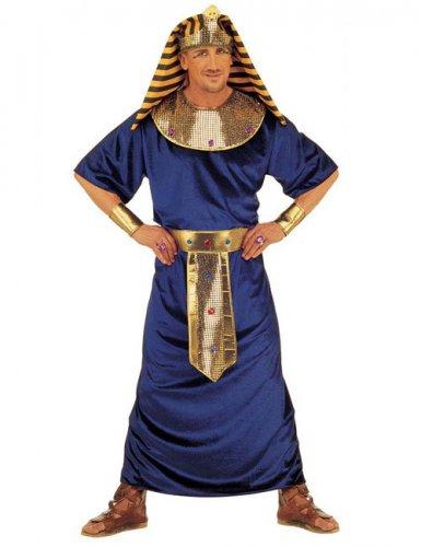 Disfraz faraón egipcio azul y dorado hombre