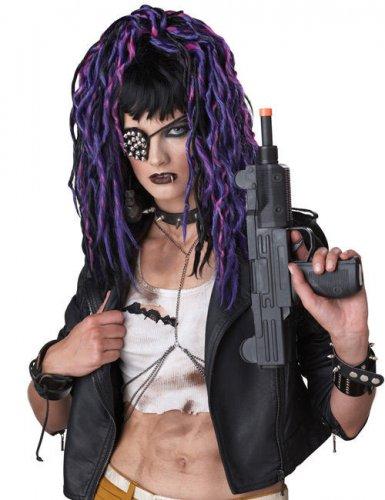 Peluca gótica larga negra y violeta mujer
