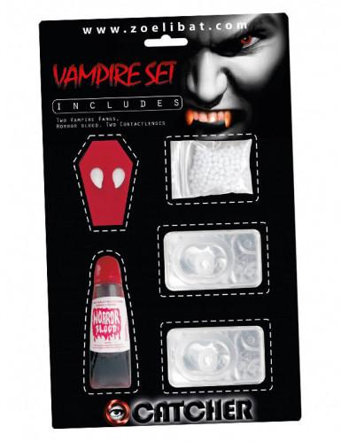 Kit accesorios vampiro con lentillas fantasía blancas adulto Halloween