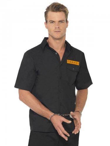 Camisa hombre prisionero negro y naranja