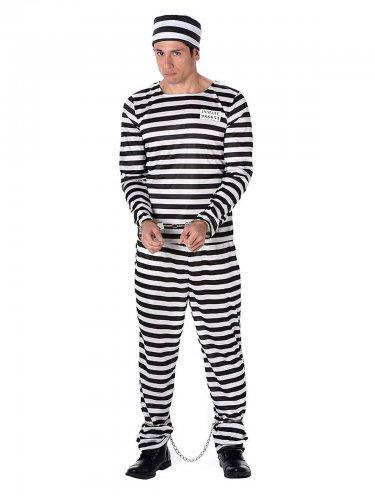Disfraz de preso a rayas negras y blancas adulto